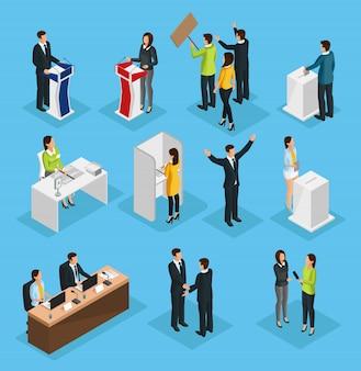 Isometrische mensen verkiezingsset