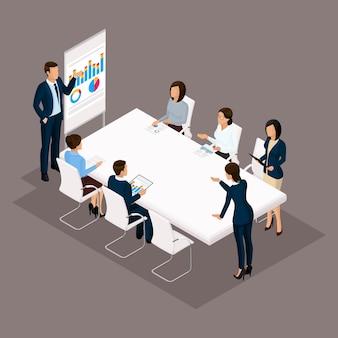 Isometrische mensen, zakenlieden 3d zakenvrouw. onderwijs, bedrijfstraining, zakelijke discussie stategii. beambten op een donkere achtergrond