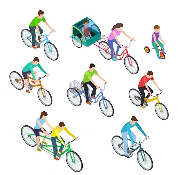 Isometrische mensenfiets. man vrouwen berijdende fietsen openlucht, fietsers. actief fietsen met het gezin. fietser fietsset