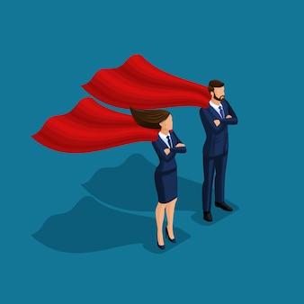 Isometrische mensenpersoon, 3d superman-zaken, zaken onder bescherming, zakenman en bedrijfsvrouw met mantels die op blauwe achtergrond worden geïsoleerd