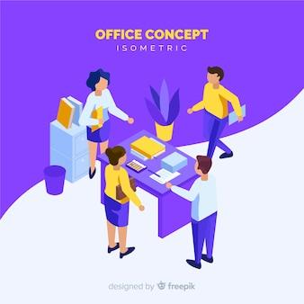 Isometrische mensenscène op kantoor