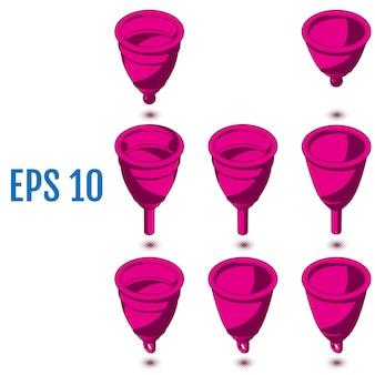 Isometrische menstruatiecups. verschillende siliconen menstruatiecups.