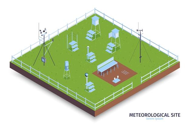 Isometrische meteorologische centrumsamenstelling met uitzicht op een omheind groen gebied en apparatuur voor het observeren van het weer met trappen