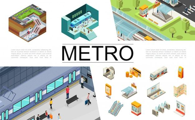 Isometrische metro elementen collectie met treinkaartjes reiskaart atm navigatiekaart ondergrondse ingang roltrap tourniquets passagiers veiligheidscabine metrostation