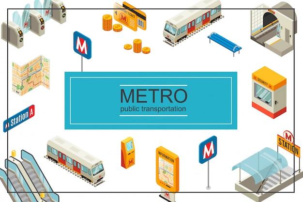Isometrische metro vectorillustratie met trein metrostation tourniquets munten reiskaarten treinbank beveiliging stand informatiebord kaart atm-roltrap