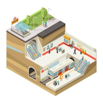 Isometrische metrostation concept