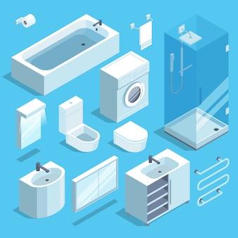 Isometrische meubels elementen set van badkamer interieur. vector illustratie.