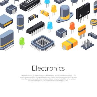 Isometrische microchips en elektronische onderdelenpictogrammen
