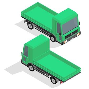 Isometrische middelgrote vrachtwagen