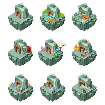 Isometrische mijnbouweilanden set Gratis Vector