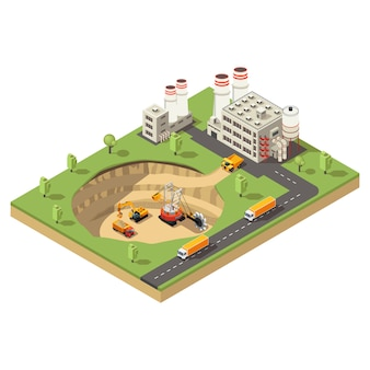 Isometrische mijnbouwindustrie sjabloon