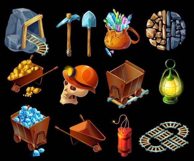 Isometrische mijnbouwspel elemens set