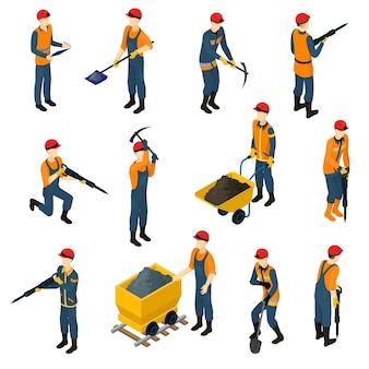 Isometrische mijnwerkers set