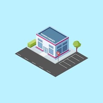 Isometrische mini-markt-gebouw