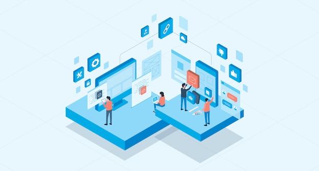 Isometrische mobiele applicatie en web design ontwikkelingsproces concept