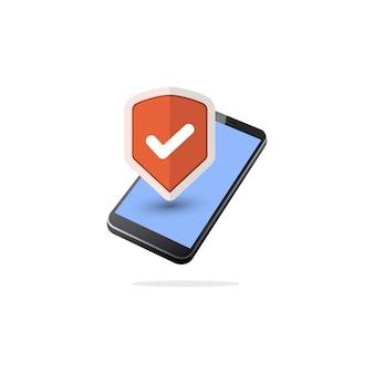 Isometrische mobiele beveiligingspictogram