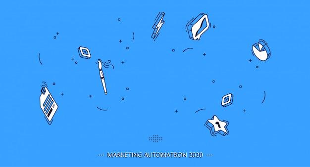 Isometrische mobiele pictogrammen voor zaken, marketing