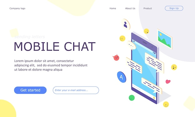 Isometrische mobiele sociale media chat-app-banner