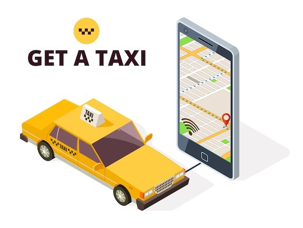 Isometrische mobiele taxi en gps stadskaart. navigatiesysteem voor taxi en het leven met 3d-telefoon en taxi auto illustratie
