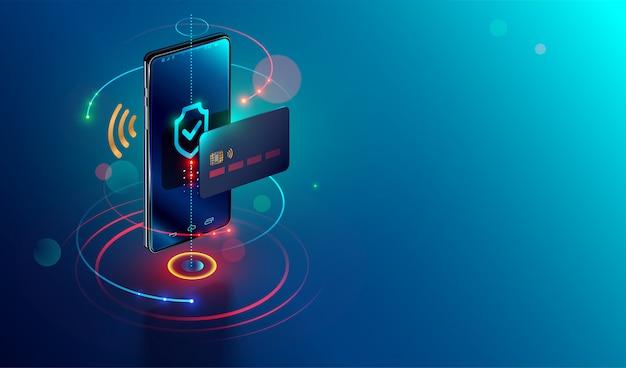 Isometrische mobiele telefoon en internetbankieren