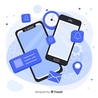 Isometrische mobiele telefoon met apps en diensten