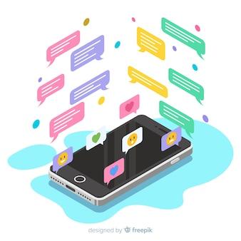 Isometrische mobiele telefoon met chat-concept