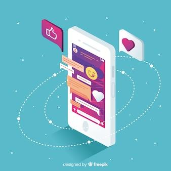 Isometrische mobiele telefoon met chat en emoji's