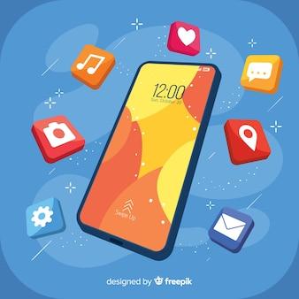 Isometrische mobiele telefoon met elementen