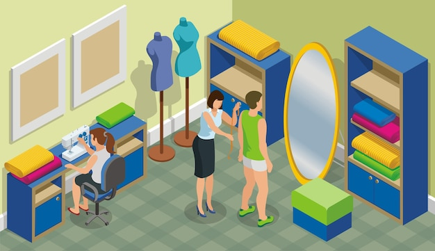 Isometrische mode-atelier sjabloon