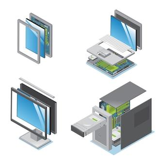 Isometrische moderne apparaten en gadgets die met onderdelen en componenten van de geïsoleerde eenheid van het de monitorsysteem van de tabletlaptop computer worden geplaatst