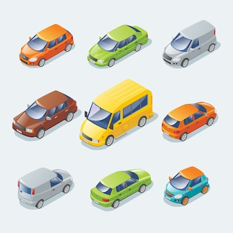 Isometrische moderne auto's collectie