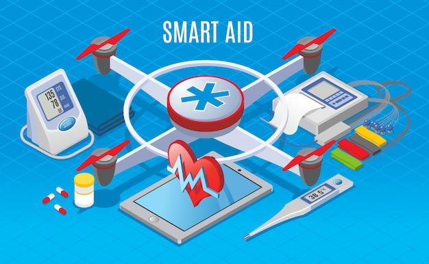 Isometrische moderne gadgets in geneeskundeconcept met drone die voor medisch materiaalvervoer gebruiken