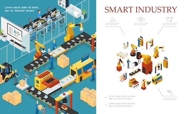 Isometrische moderne industriële productiesamenstelling met geautomatiseerde assemblage- en verpakkingslijnen robotarmen ingenieurs operators