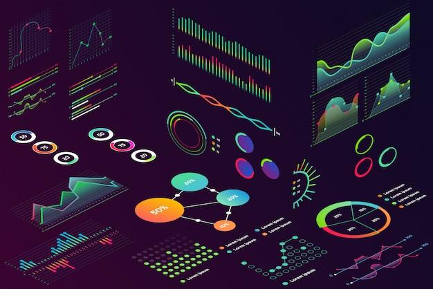Isometrische moderne neonkleurenstijlgegevens financieren grafisch, zakelijke financiëngrafieken voor infographic. golvengrafiekgegevens, 2d en volumetrische diagramstatistieken geïsoleerd