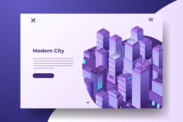 Isometrische moderne stad banner