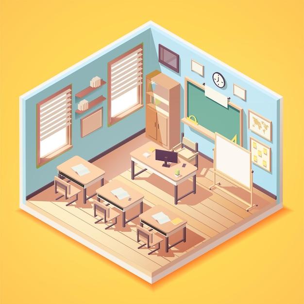 Isometrische mooie lege klas interieur
