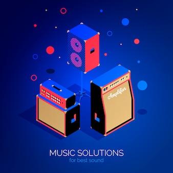 Isometrische muziekapparatuur poster