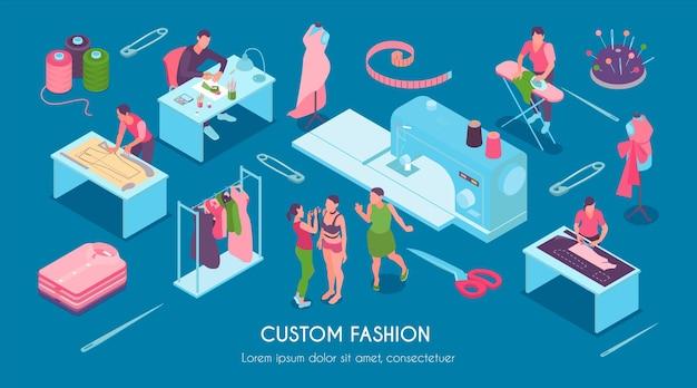 Isometrische naaien aangepaste mode-set