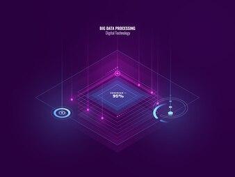 Isometrische neonbanner van digitale technologie, big data processing, serverruimte, toekomst van technologie