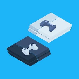 Isometrische nextgen spelconsoles met gamepads