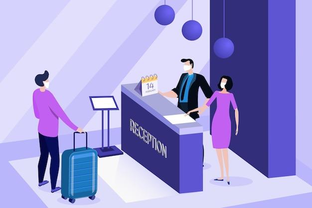 Isometrische nieuwe normaal in hotels illustratie
