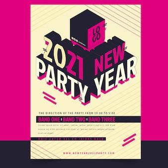 Isometrische nieuwjaar 2021 partij flyer-sjabloon