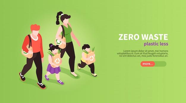 Isometrische nul afval banner achtergrond met bewerkbare tekst van de schuifknop en menselijke karakters van familieleden illustratie