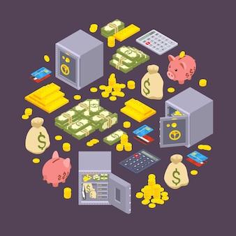 Isometrische objecten gerelateerd aan financiën