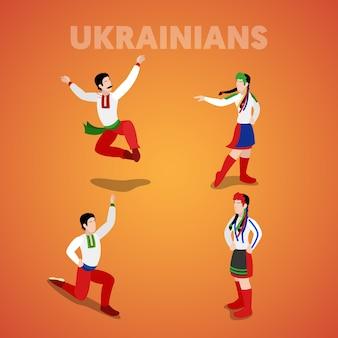 Isometrische oekraïense dansende mensen in traditionele kleding. vector 3d platte illustratie