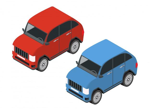 Isometrische off-road auto van rode en blauwe kleur.