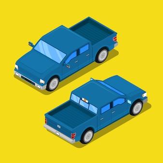 Isometrische offroad pick-up auto in retro stijl.