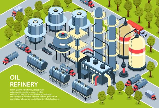 Isometrische olie-aardolie-industrie horizontaal met illustratie