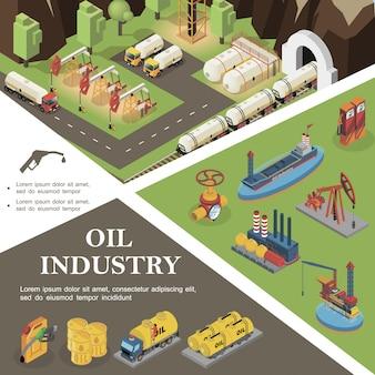 Isometrische olie-industrie samenstelling met tanker booreilanden raffinaderij fabriek pijpleiding klep vrachtwagens bussen stortbakken vaten benzine brandstof mondstuk