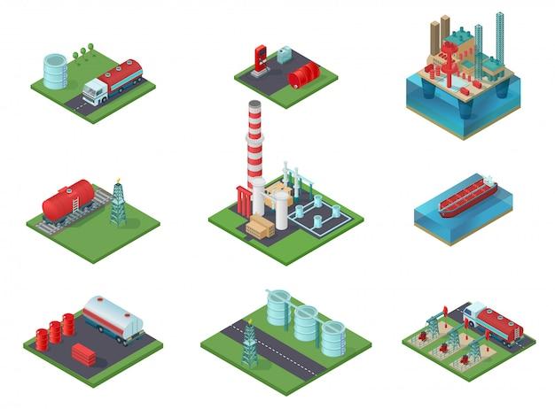 Isometrische olie-industrie set